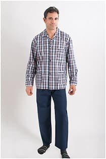 Katoenen geruiten pyjama met knopen