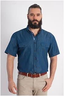 Denim overhemd korte mouw Plus Man
