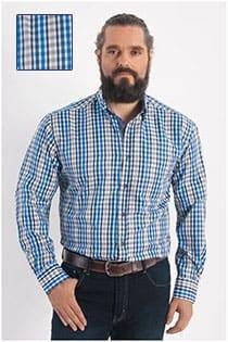 Plus Man EXTRA lange mouw ruiten overhemd
