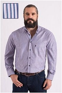 Plus Man gestreept overhemd extra lang