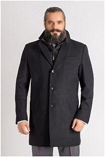 Lange jas met dubbel front van Plus Man