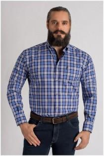 Extra lang katoenen vrijetijdsoverhemd lange mouw van Plus Man