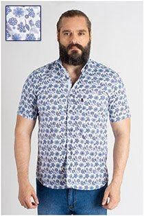 Korte mouw allover bedrukt overhemd van Plus Man