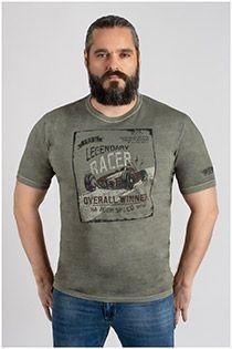 Washed-look korte mouw t-shirt van Kitaro