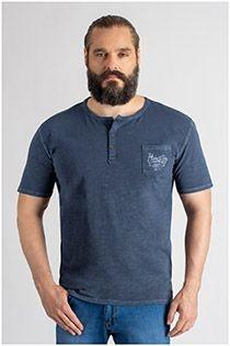 Redfield korte mouw t-shirt met serafino kraag