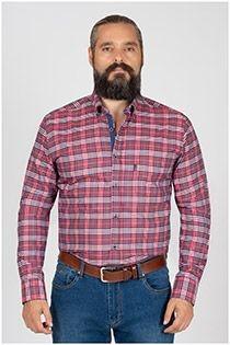 Plusman extra lange mouw ruiten overhemd