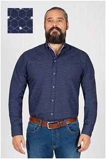 Plusman extra lang mouw overhemd met print