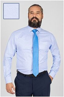 Plusman ruiten dressoverhemd