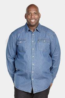 Western-style jeansoverhemd lange mouw van Duke