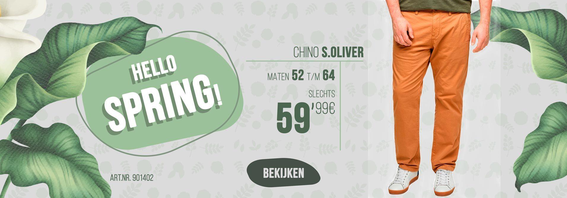 Grote maten chino van s.Oliver